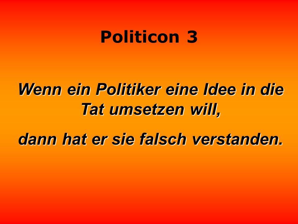 Wenn ein Politiker eine Idee in die Tat umsetzen will,