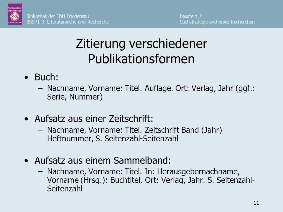 Zitierung verschiedener Publikationsformen