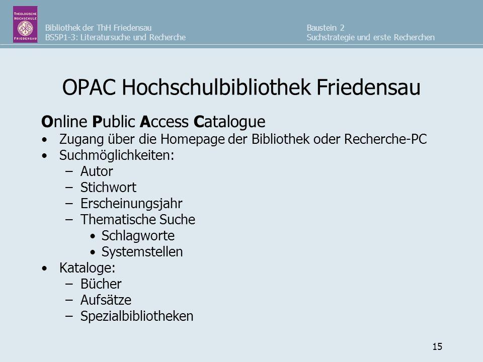 OPAC Hochschulbibliothek Friedensau