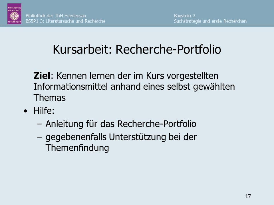 Kursarbeit: Recherche-Portfolio