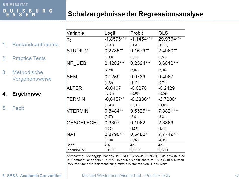 Schätzergebnisse der Regressionsanalyse