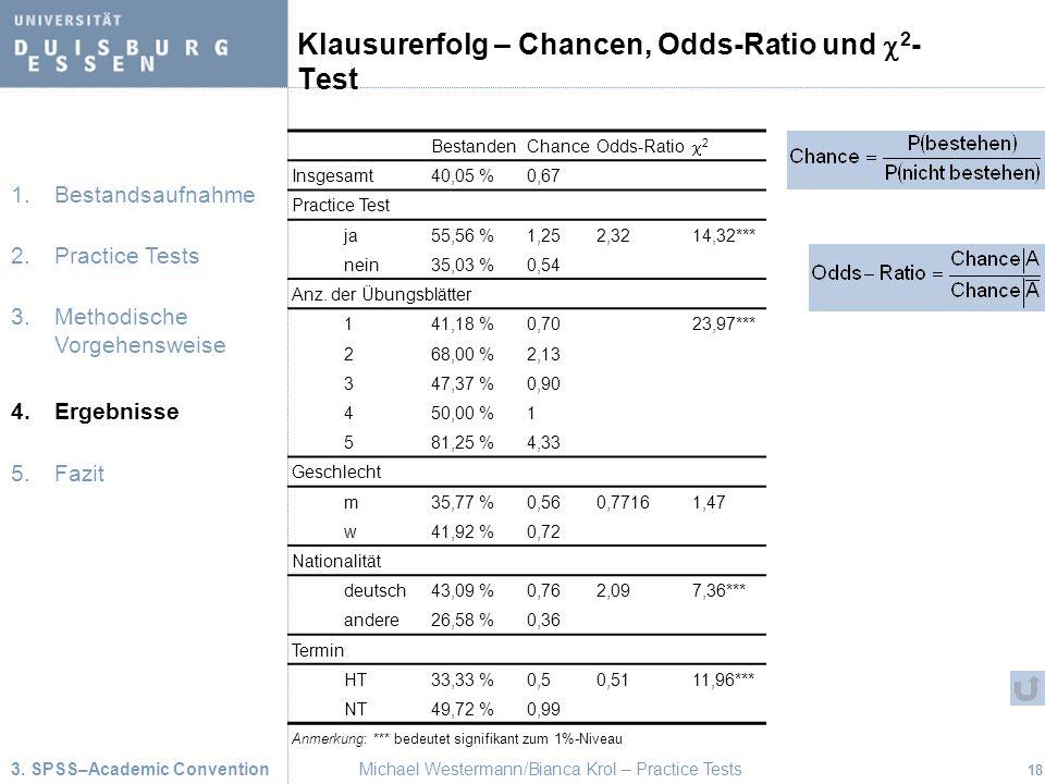 Klausurerfolg – Chancen, Odds-Ratio und c2-Test