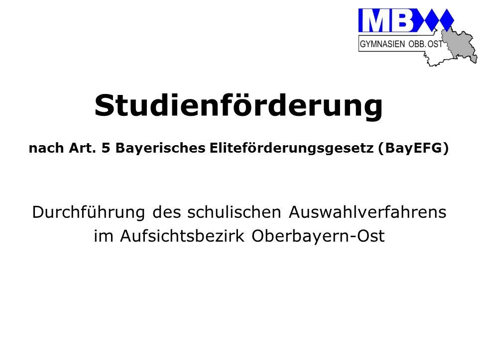 Studienförderung nach Art. 5 Bayerisches Eliteförderungsgesetz (BayEFG)
