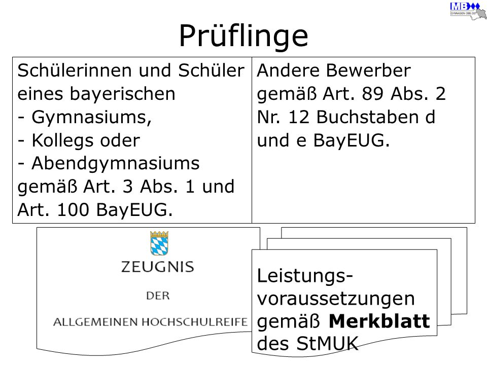 Prüflinge Leistungs- voraussetzungen gemäß Merkblatt des StMUK