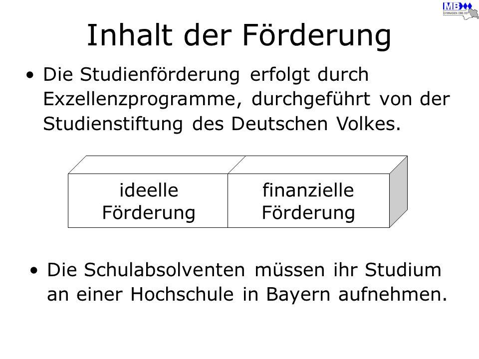 Inhalt der Förderung Die Studienförderung erfolgt durch Exzellenzprogramme, durchgeführt von der Studienstiftung des Deutschen Volkes.