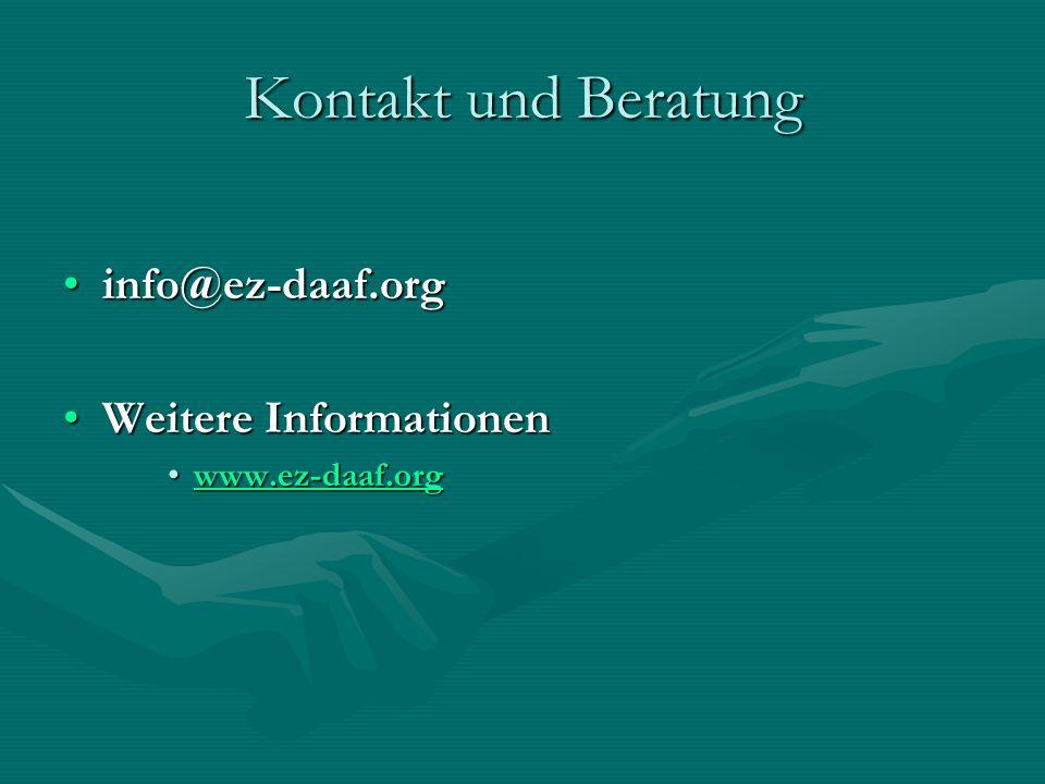 Kontakt und Beratung info@ez-daaf.org Weitere Informationen