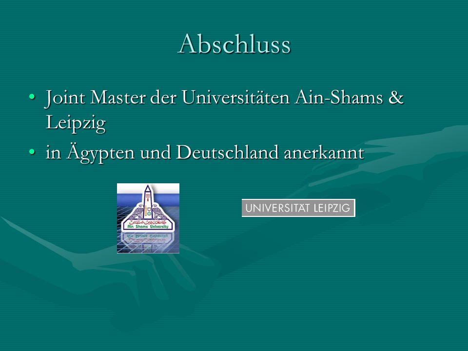 Abschluss Joint Master der Universitäten Ain-Shams & Leipzig