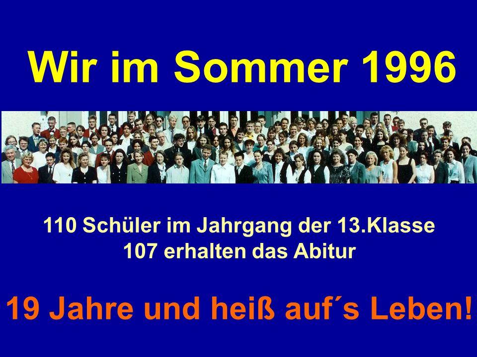 110 Schüler im Jahrgang der 13.Klasse 19 Jahre und heiß auf´s Leben!