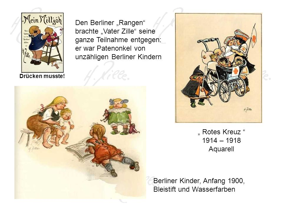 Berliner Kinder, Anfang 1900, Bleistift und Wasserfarben