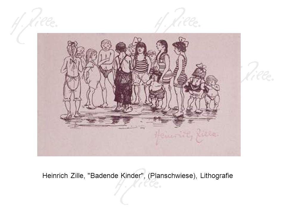 Heinrich Zille, Badende Kinder , (Planschwiese), Lithografie