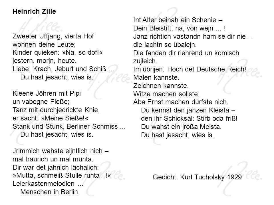 Heinrich Zille Zweeter Uffjang, vierta Hof. wohnen deine Leute; Kinder quieken: »Na, so dof!« jestern, morjn, heute.