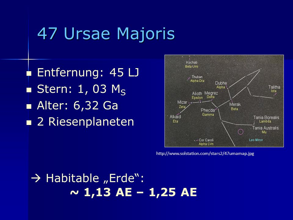 47 Ursae Majoris Entfernung: 45 LJ Stern: 1, 03 MS Alter: 6,32 Ga