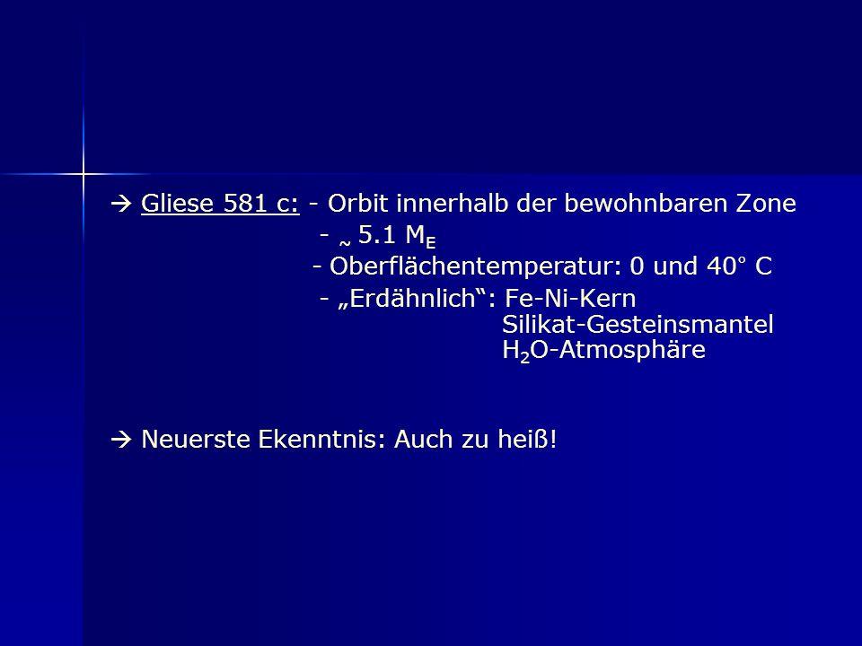  Gliese 581 c: - Orbit innerhalb der bewohnbaren Zone - ~ 5
