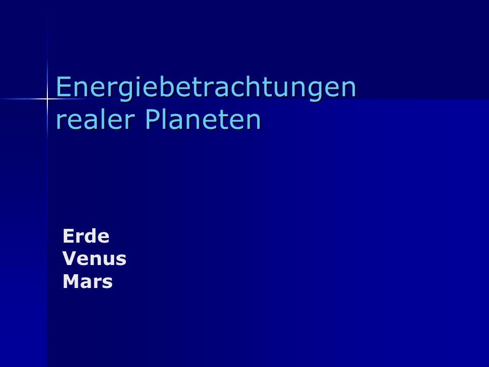 Energiebetrachtungen realer Planeten