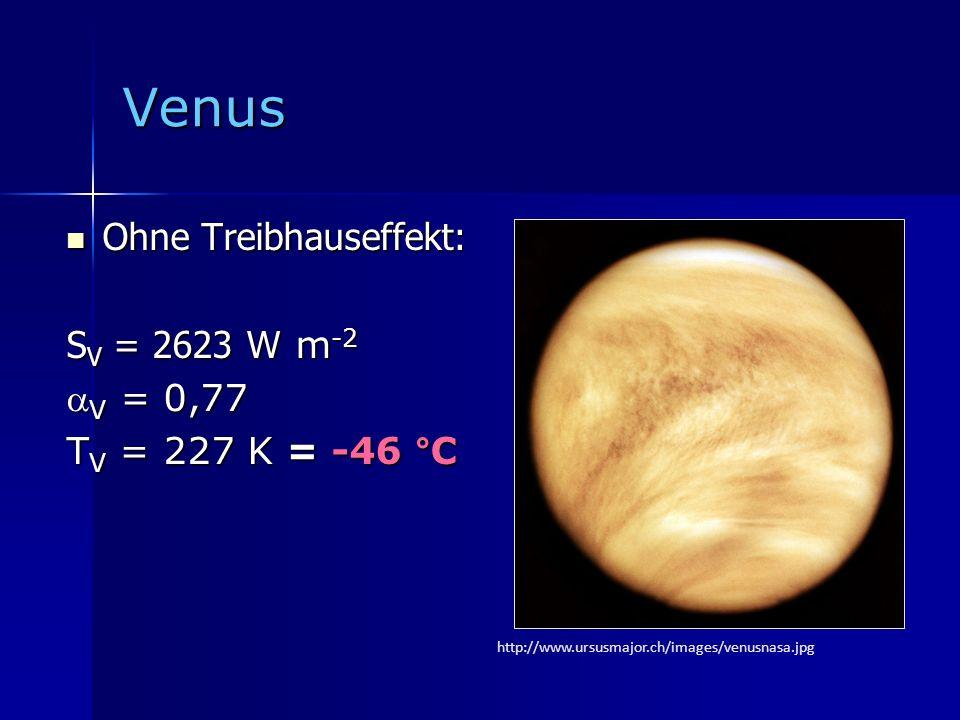 Venus Ohne Treibhauseffekt: SV = 2623 W m-2 V = 0,77