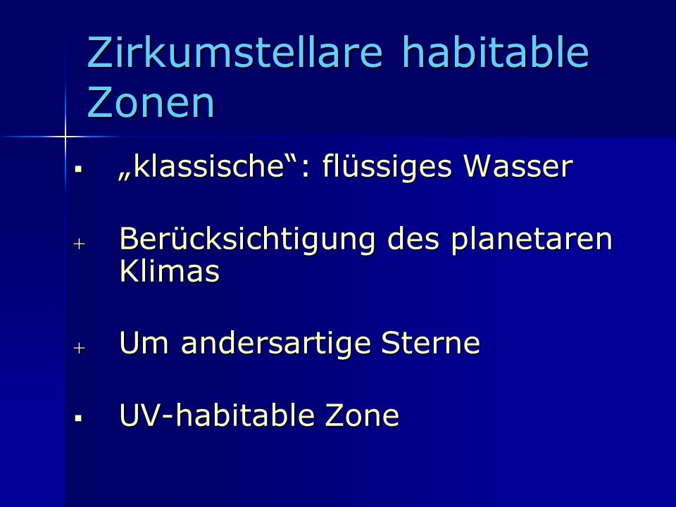 Zirkumstellare habitable Zonen