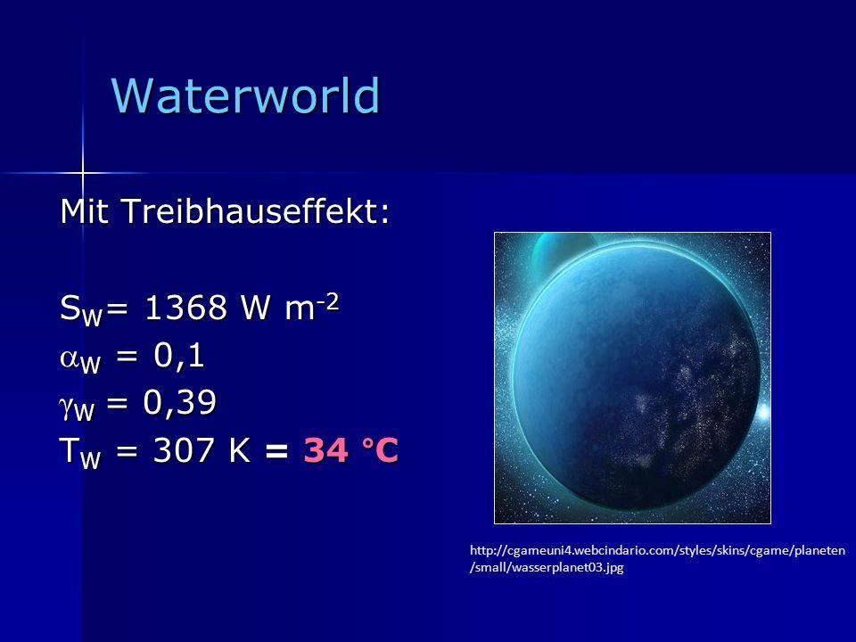 Waterworld Mit Treibhauseffekt: SW= 1368 W m-2 W = 0,1 γW = 0,39