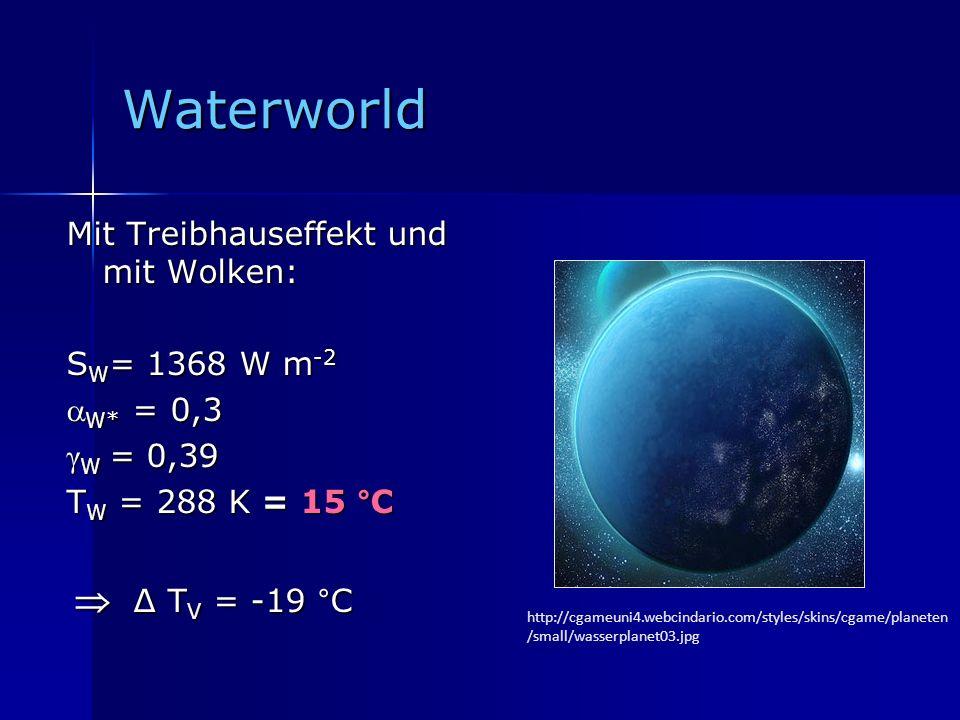 Waterworld Mit Treibhauseffekt und mit Wolken: SW= 1368 W m-2