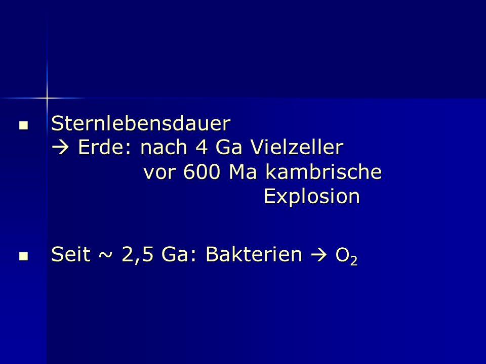 Sternlebensdauer  Erde: nach 4 Ga Vielzeller vor 600 Ma kambrische Explosion