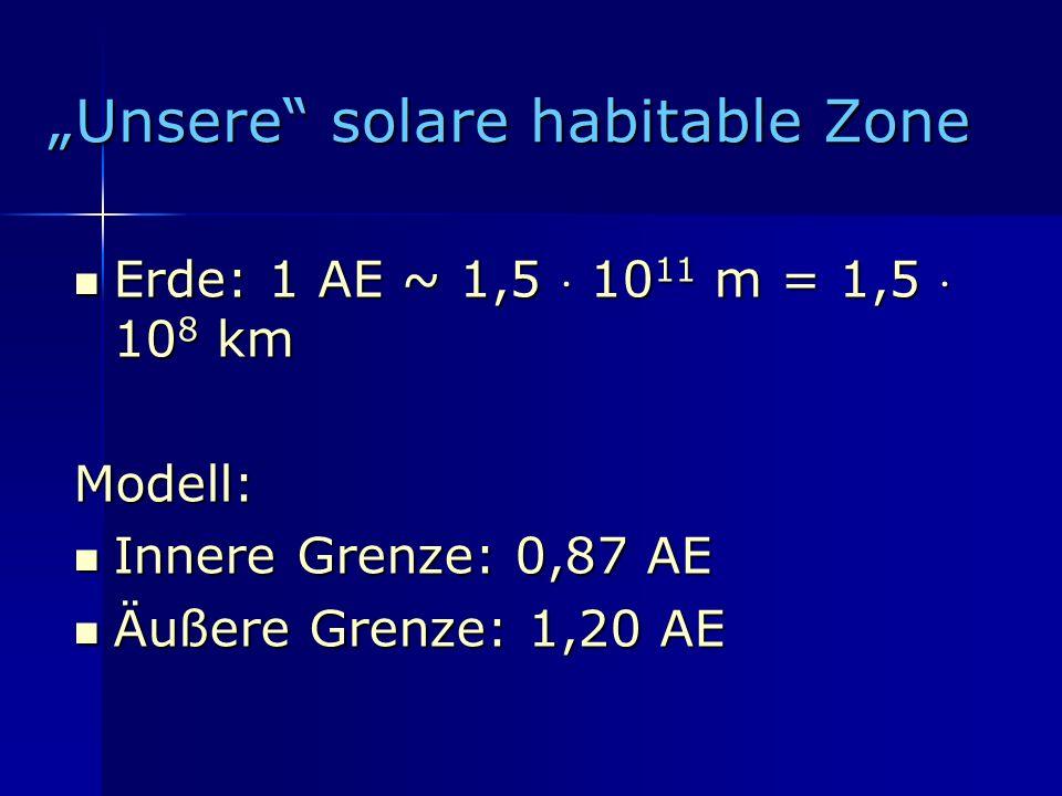 """""""Unsere solare habitable Zone"""