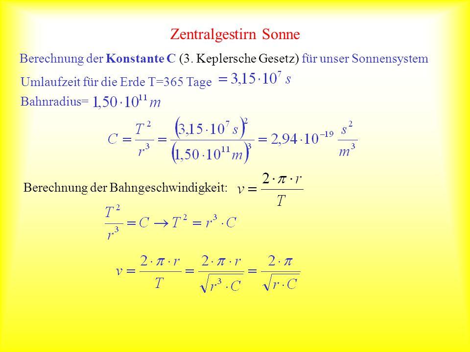 Zentralgestirn Sonne Berechnung der Konstante C (3. Keplersche Gesetz) für unser Sonnensystem. Umlaufzeit für die Erde T=365 Tage.