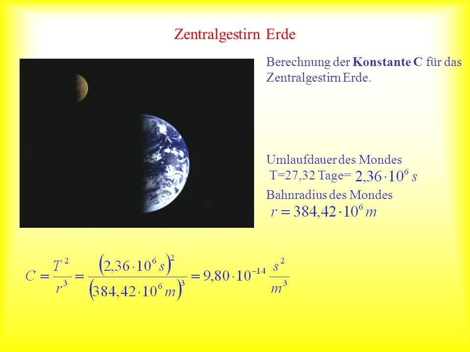 Zentralgestirn Erde Berechnung der Konstante C für das Zentralgestirn Erde. Umlaufdauer des Mondes.