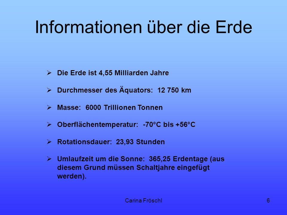 Informationen über die Erde