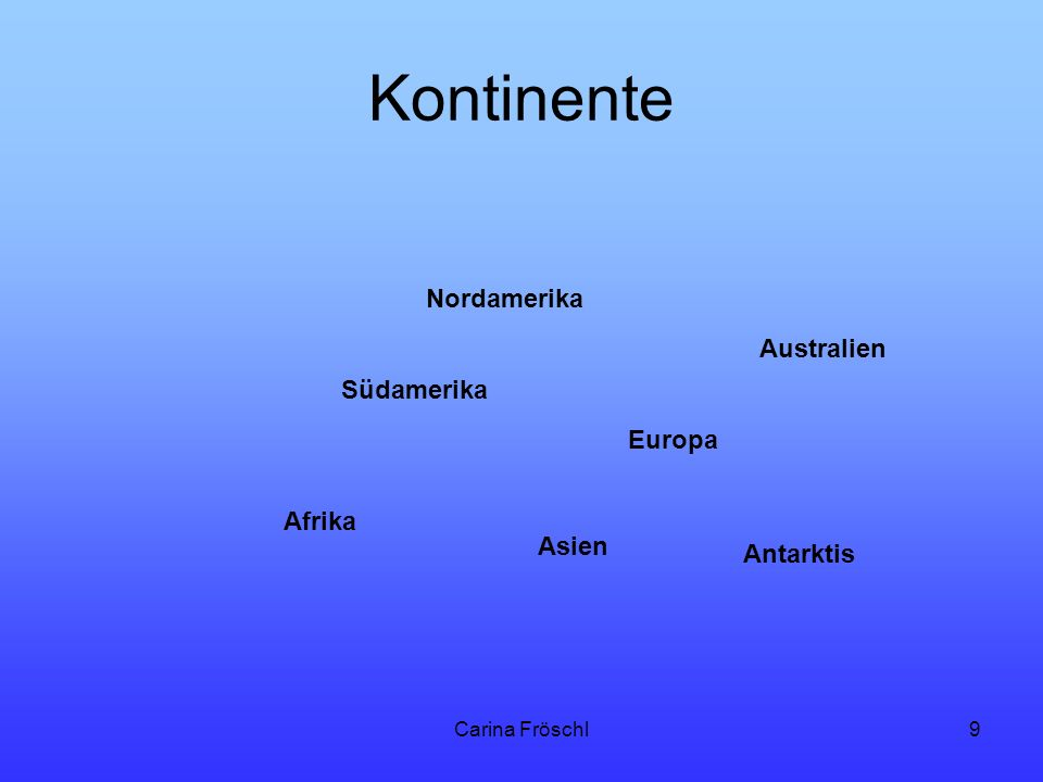 Kontinente Nordamerika Australien Südamerika Europa Afrika Asien