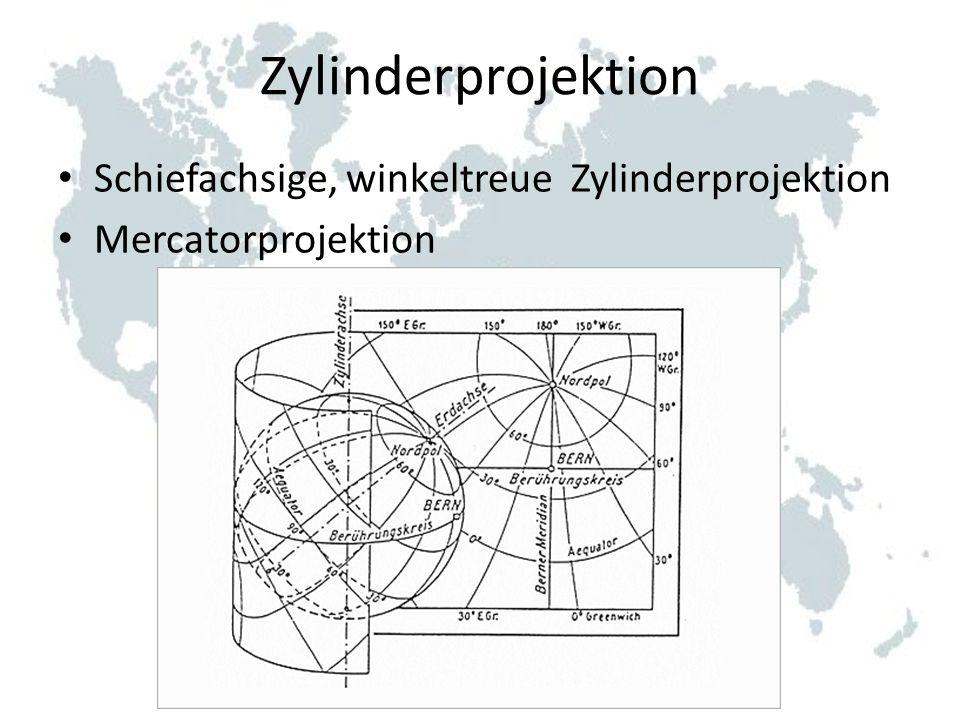 Zylinderprojektion Schiefachsige, winkeltreue Zylinderprojektion