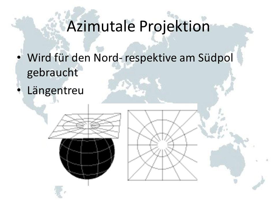 Azimutale Projektion Wird für den Nord- respektive am Südpol gebraucht