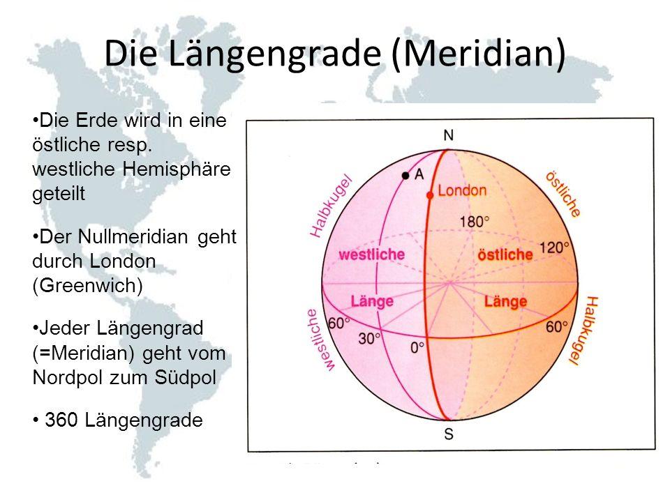 Die Längengrade (Meridian)