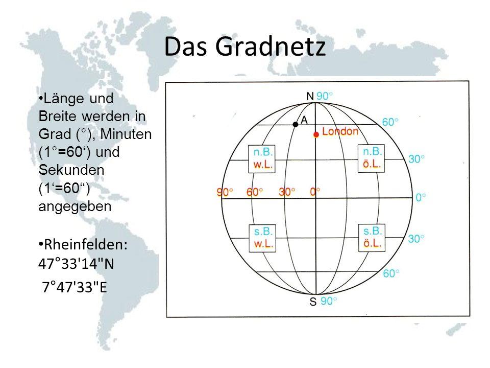 Das Gradnetz Rheinfelden: 47°33 14 N 7°47 33 E