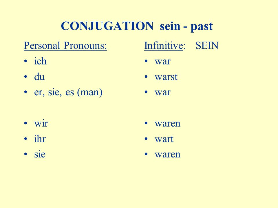 CONJUGATION sein - past