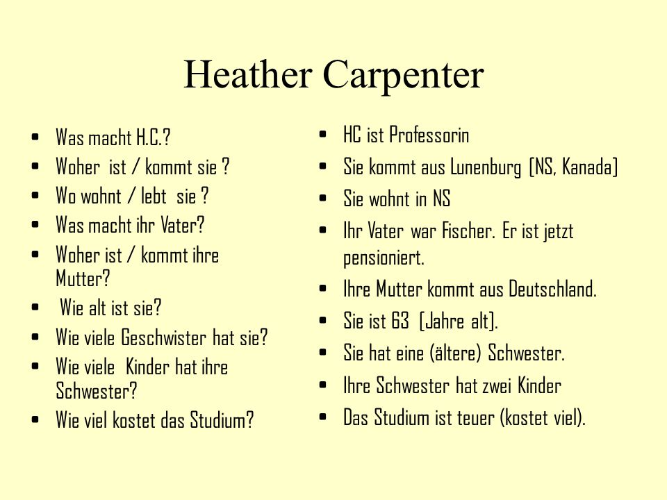 Heather Carpenter HC ist Professorin Was macht H.C.