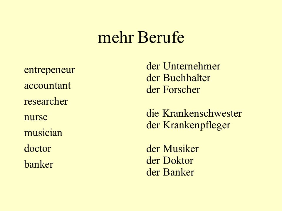 mehr Berufe entrepeneur accountant researcher nurse musician doctor