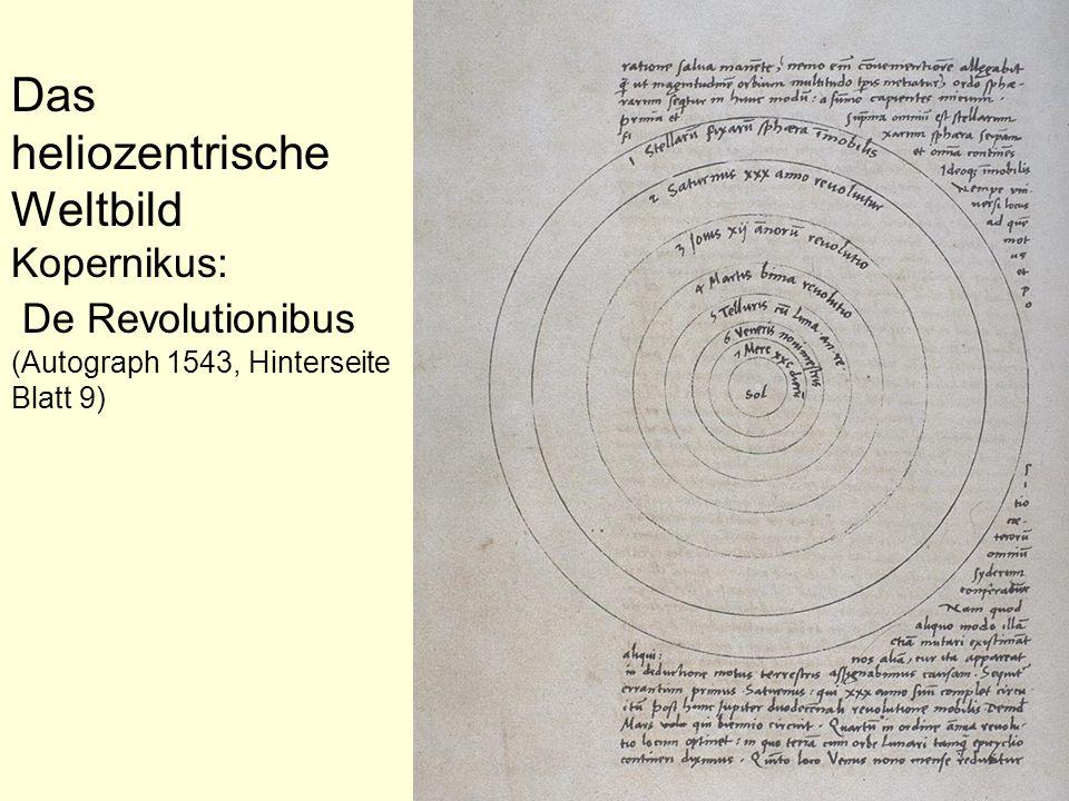 Das heliozentrische Weltbild Kopernikus: De Revolutionibus (Autograph 1543, Hinterseite Blatt 9)