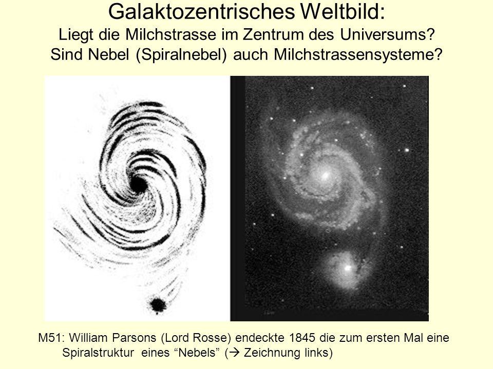 Galaktozentrisches Weltbild: Liegt die Milchstrasse im Zentrum des Universums Sind Nebel (Spiralnebel) auch Milchstrassensysteme