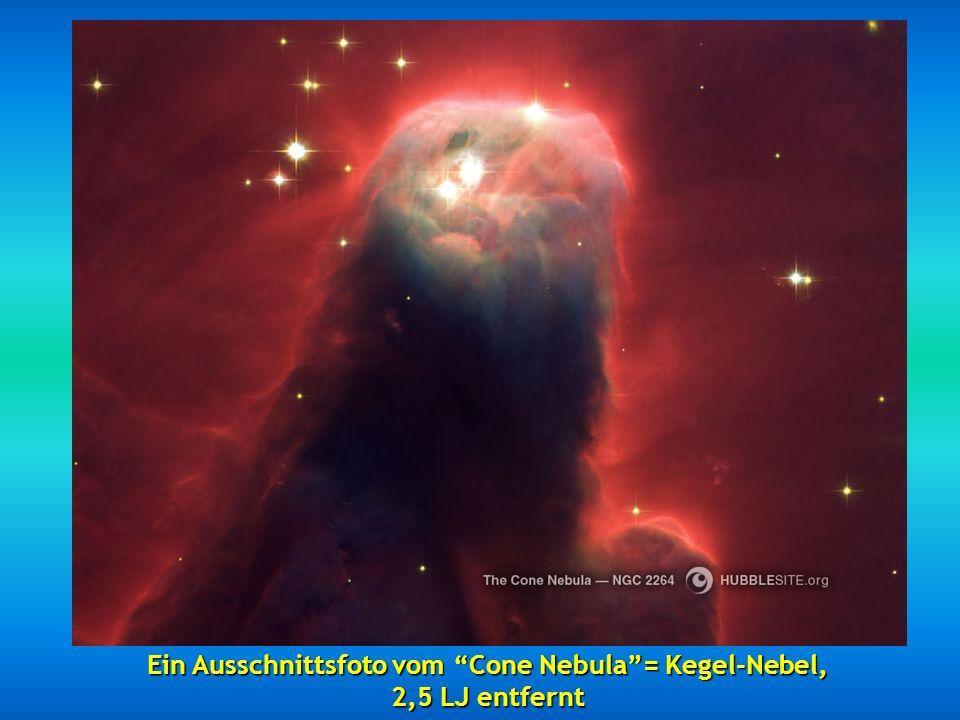 Ein Ausschnittsfoto vom Cone Nebula = Kegel-Nebel,