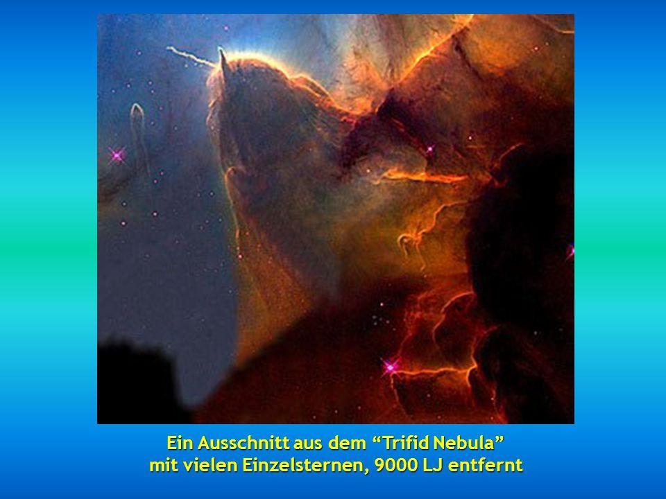 Ein Ausschnitt aus dem Trifid Nebula mit vielen Einzelsternen, 9000 LJ entfernt