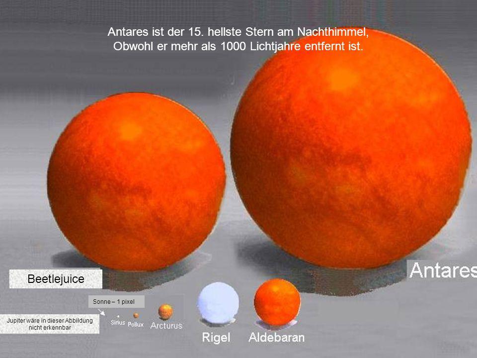 Antares ist der 15. hellste Stern am Nachthimmel,