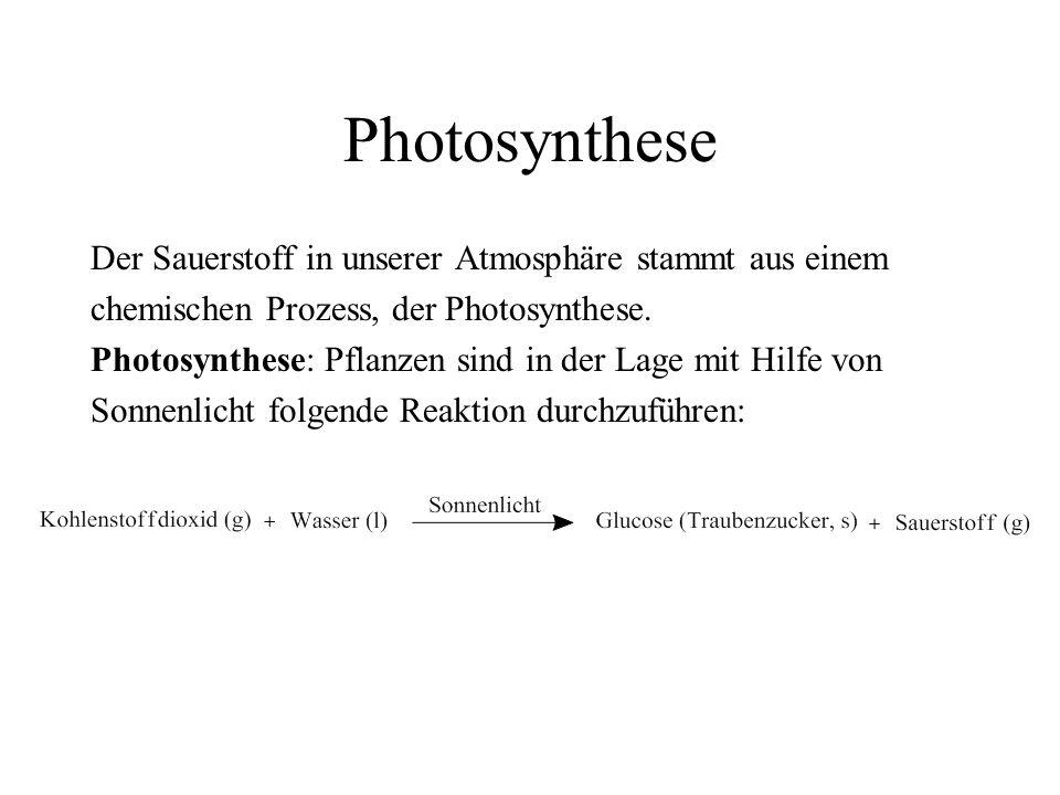 Photosynthese Der Sauerstoff in unserer Atmosphäre stammt aus einem