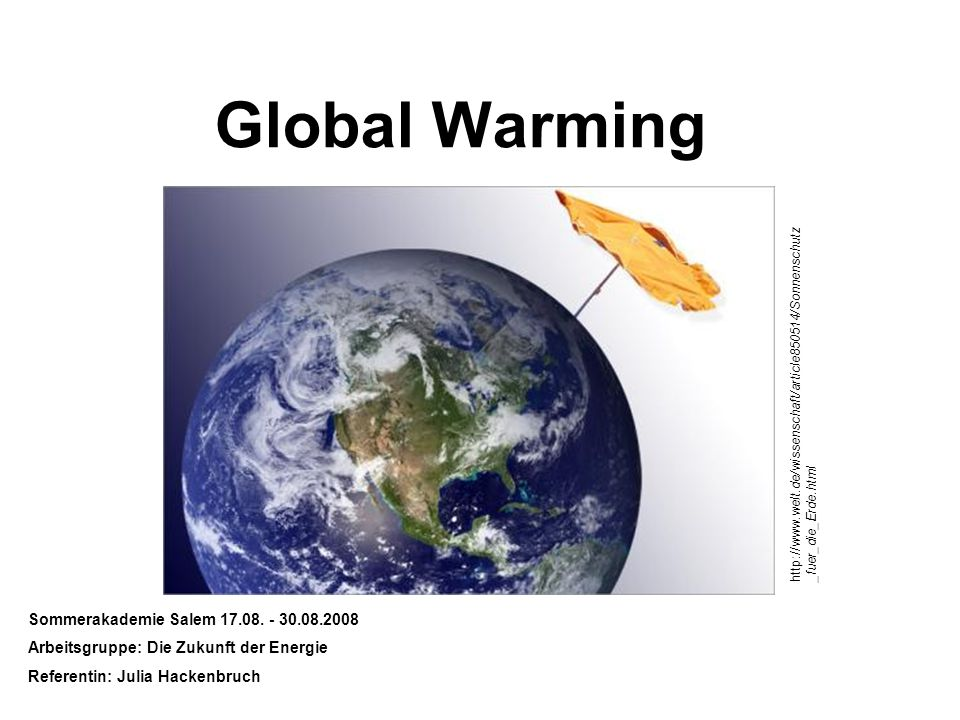Global Warming Sommerakademie Salem