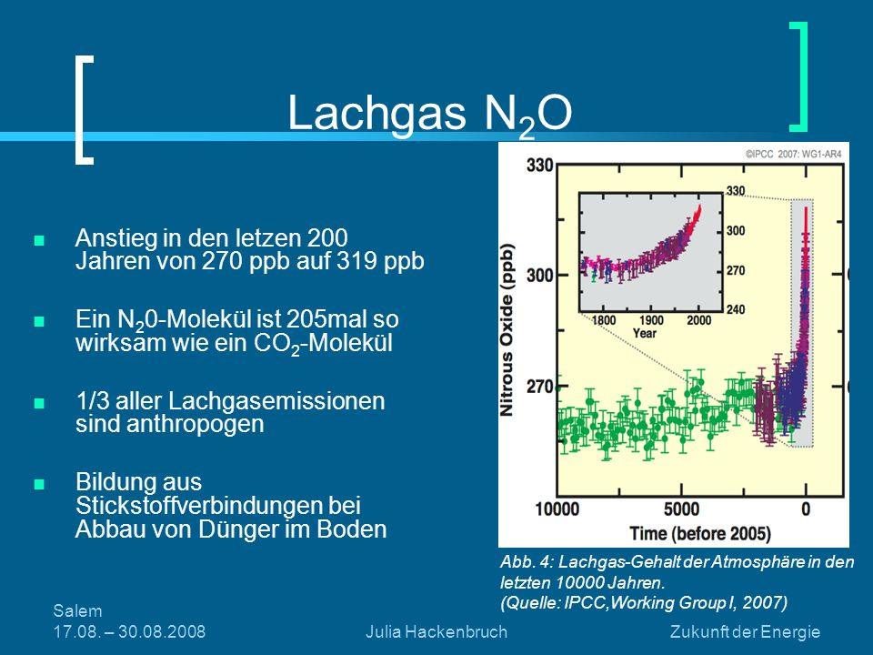 Lachgas N2O Anstieg in den letzen 200 Jahren von 270 ppb auf 319 ppb