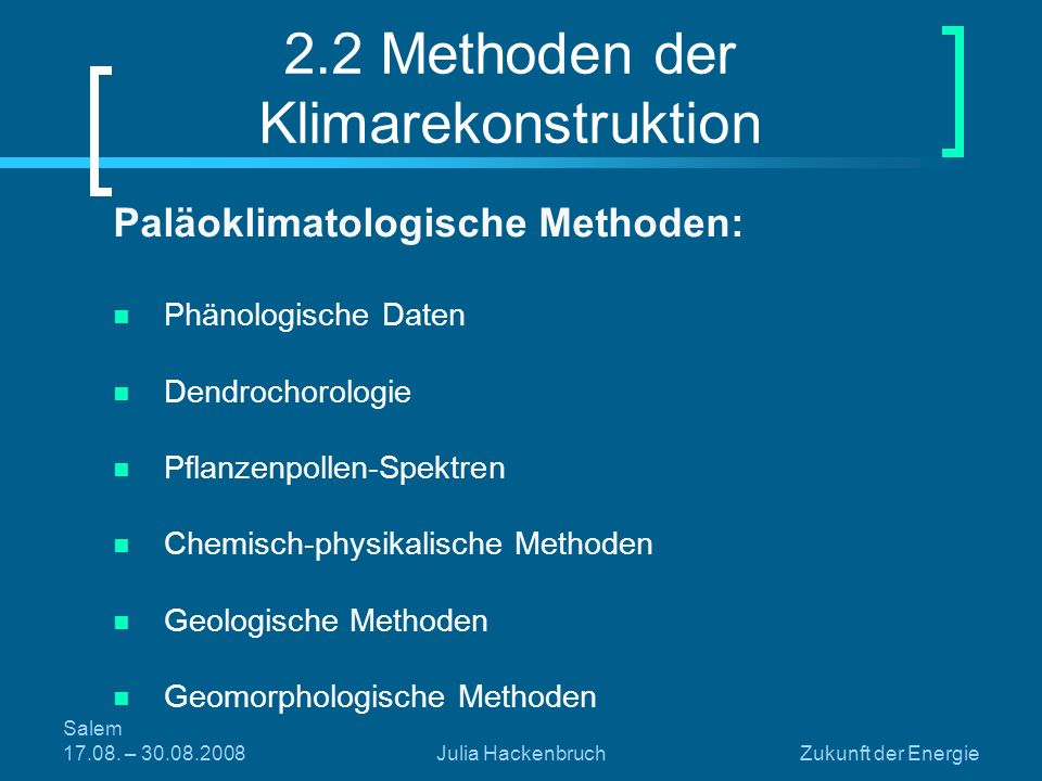 2.2 Methoden der Klimarekonstruktion