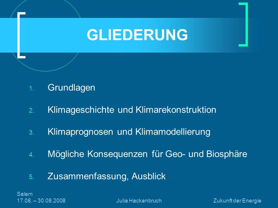 GLIEDERUNG Grundlagen Klimageschichte und Klimarekonstruktion