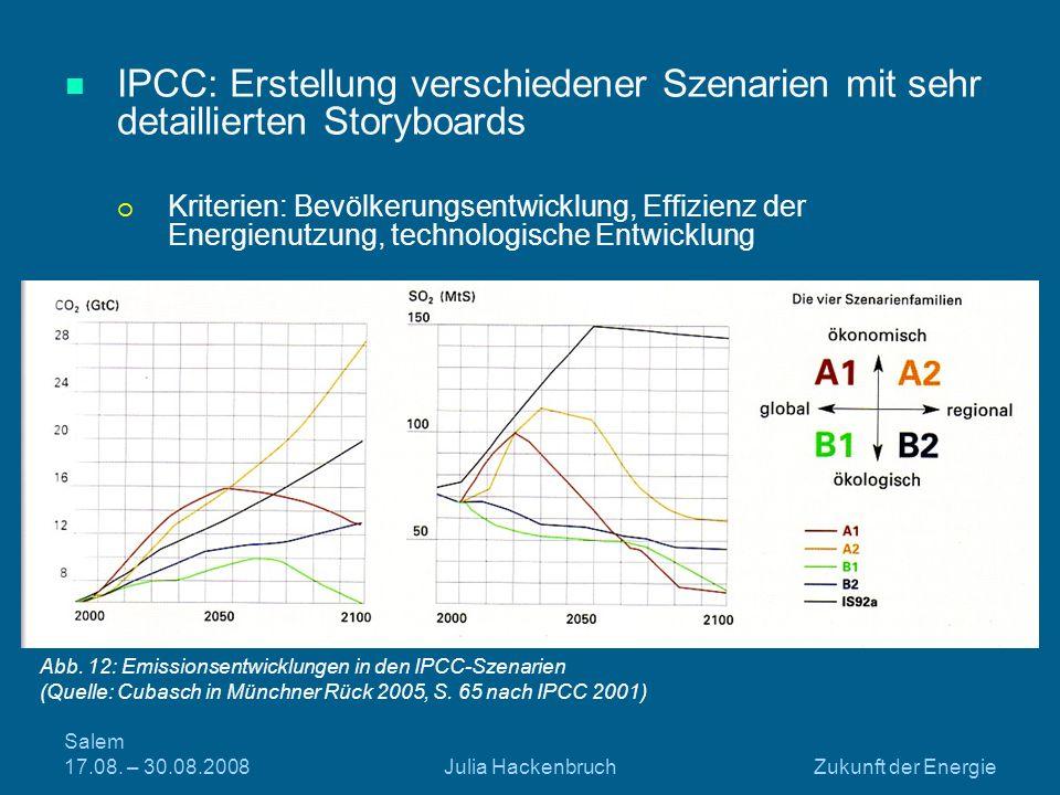 IPCC: Erstellung verschiedener Szenarien mit sehr detaillierten Storyboards