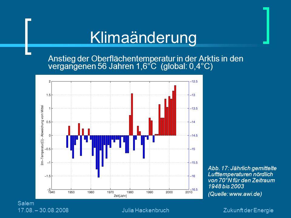 Klimaänderung Anstieg der Oberflächentemperatur in der Arktis in den vergangenen 56 Jahren 1,6°C (global: 0,4°C)