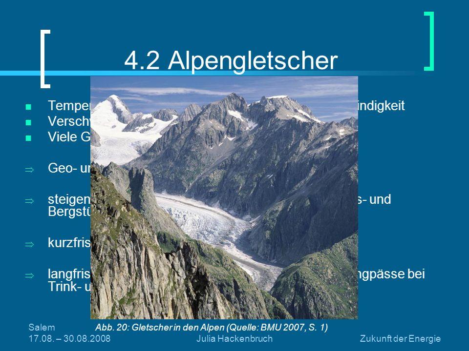 4.2 Alpengletscher Temperaturanstieg in den Alpen in doppelter Geschwindigkeit. Verschwinden vieler kleiner Gebirgsgletscher möglich.
