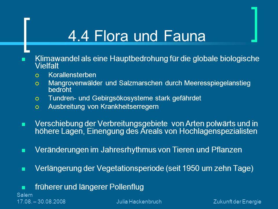 4.4 Flora und Fauna Klimawandel als eine Hauptbedrohung für die globale biologische Vielfalt. Korallensterben.