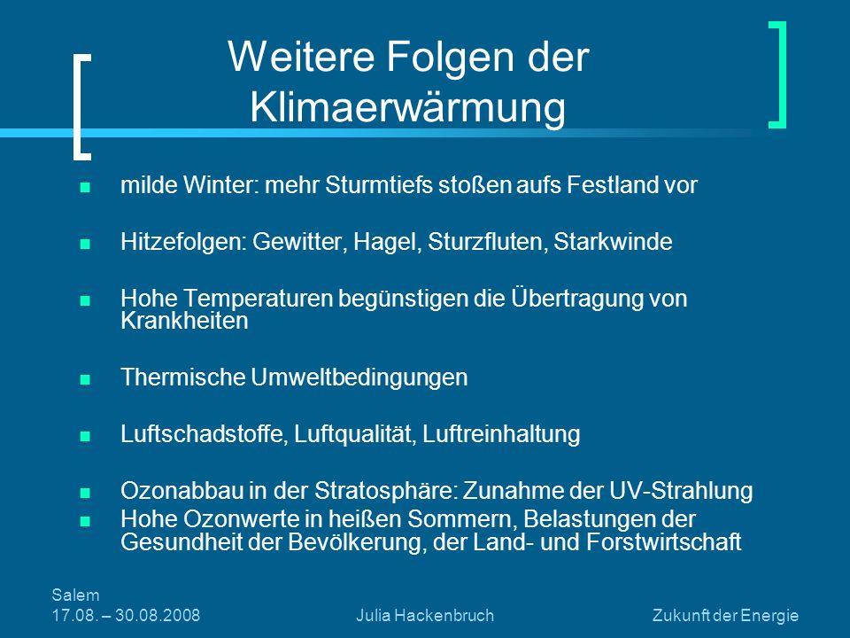 Weitere Folgen der Klimaerwärmung